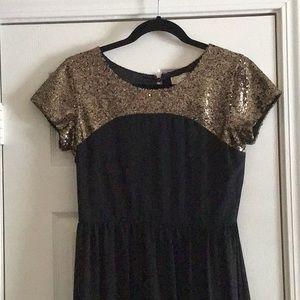 Black With Golf Sequin Full Length Dress